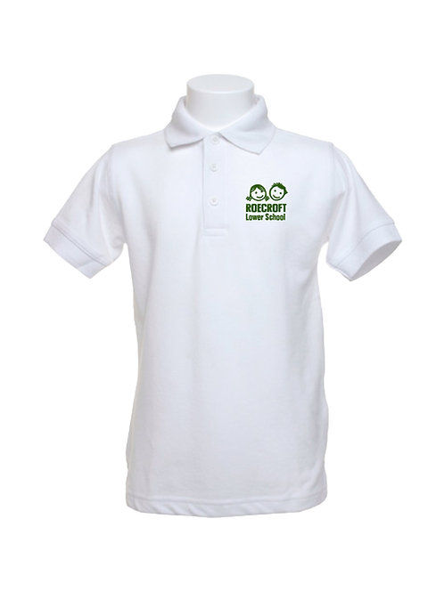 Polo Shirt - White with Embroidered Logo