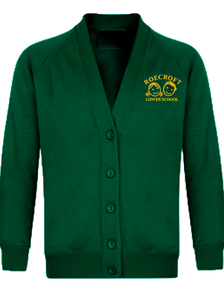 Cardigan - Bottle Green with Embroidered Logo