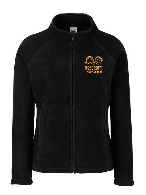 Ladies Fleece Jacket - Black with Embroidered Logo