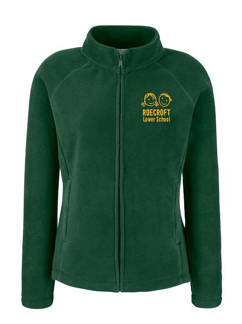 Ladies Fleece Jacket - Bottle Green with Embroidered Logo