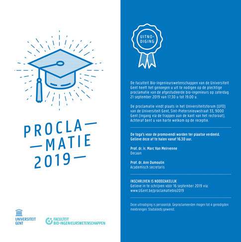 Ugent - uitnodiging proclamatie 2019