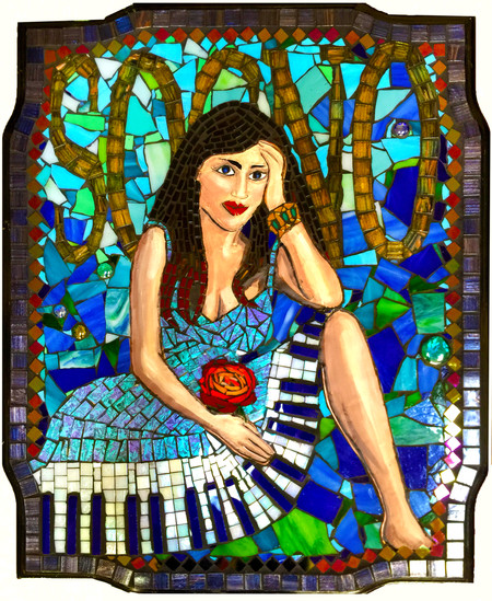 "Margie's mosaic piece ""Sogno"" was juried into the CAL exhibit Dreams - June 9, - Septe"