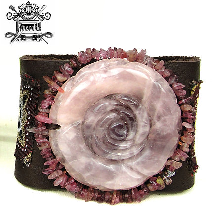 Rose Quartz and Pink Tourmaline. Leather