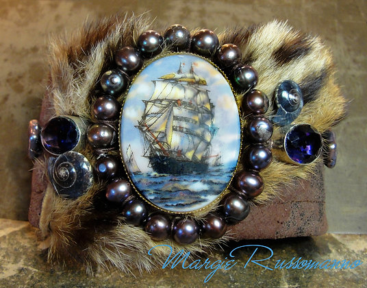 Vintage Sailing Ship Cameo, genuine Amethysts.