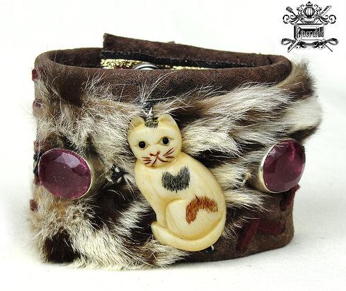 Carved Ivory or Bone Cat and Genuine Rubies