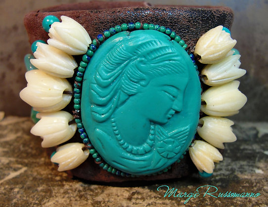 Hand carved Turquoise Cameo, Carved Bone