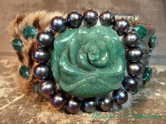 Carved Rose Green Jade, Black Pearls,Adventurine