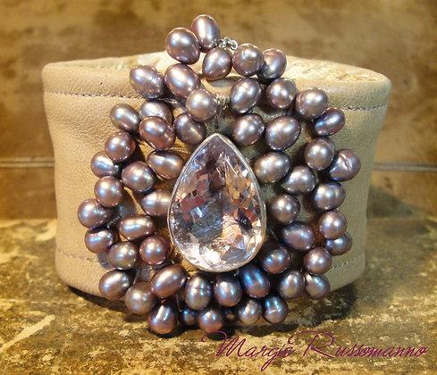 Teardrop Cut Kunzite and genuine Lavender Pearls.