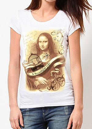 Women's (A Beautiful Life)  White & Tan T-Shirt