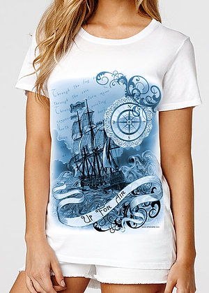 Women's (Up For Air) White & Blue T-Shirt