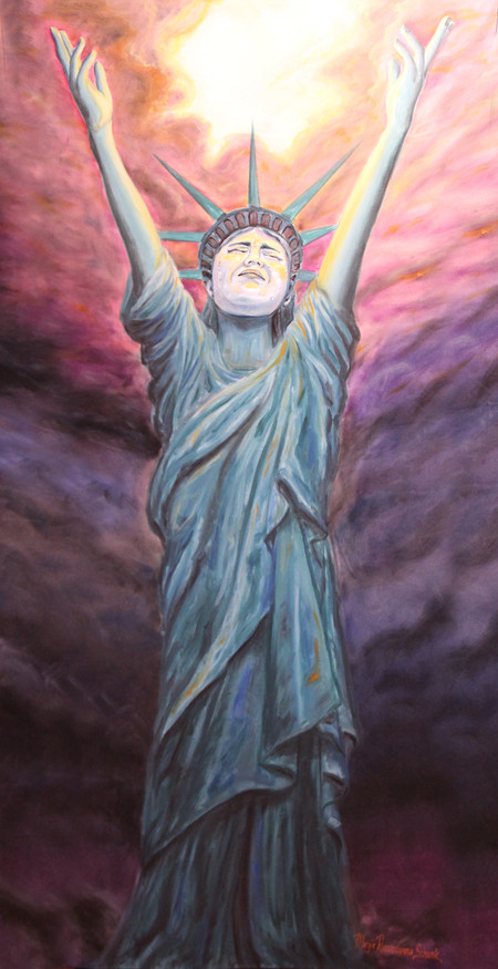 """Margie's painting """"Breakthrough for America"""" on exhibit at SFV Arts & Cultural Cen"""
