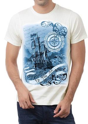 Men's (Up For Air) White & Blue T-Shirt
