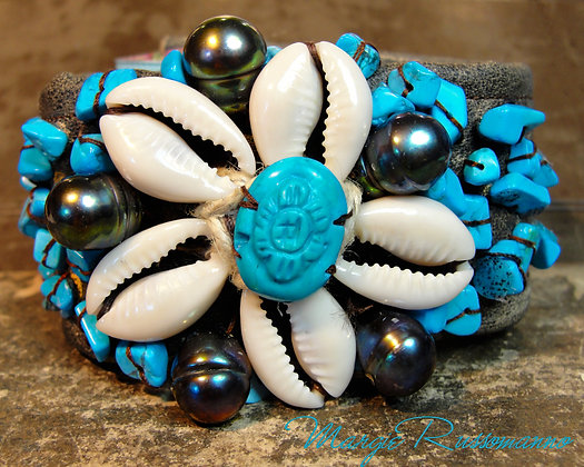 Carved Turquoise, Genuine Black Pearls, Seashells.