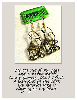 Bird Escaping Cage Earrings