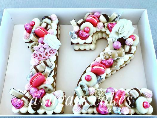 עוגת 12 מספרים בת מצווה