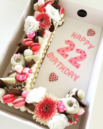 עוגת אותיות L ורודה