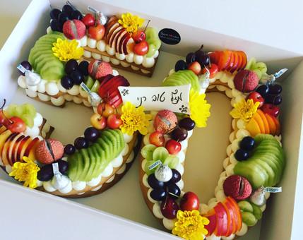 עוגת מספרים פירות