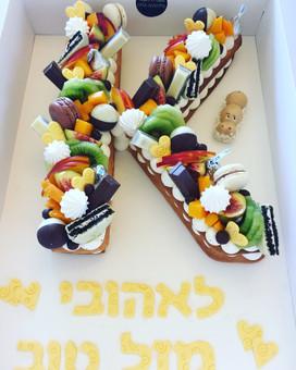 עוגת אותיות פירות שוקודל