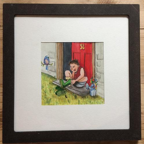 """7x7"""" - Colour Illustration, Framed"""