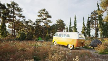 Fir landscape and travel van