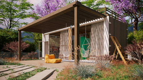 Small container house visualization day scene