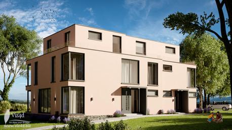 Peach plaster finish for residential house in Berlin