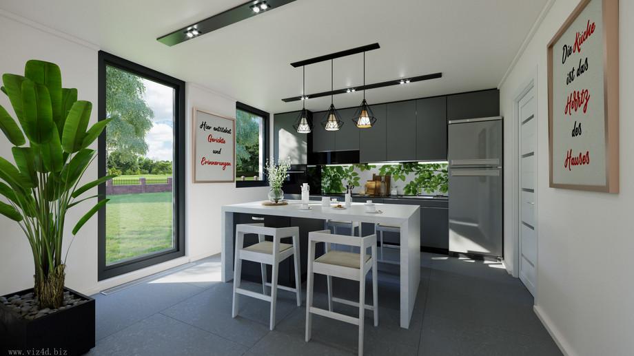Minimalisctic kitchen in with dark furniture