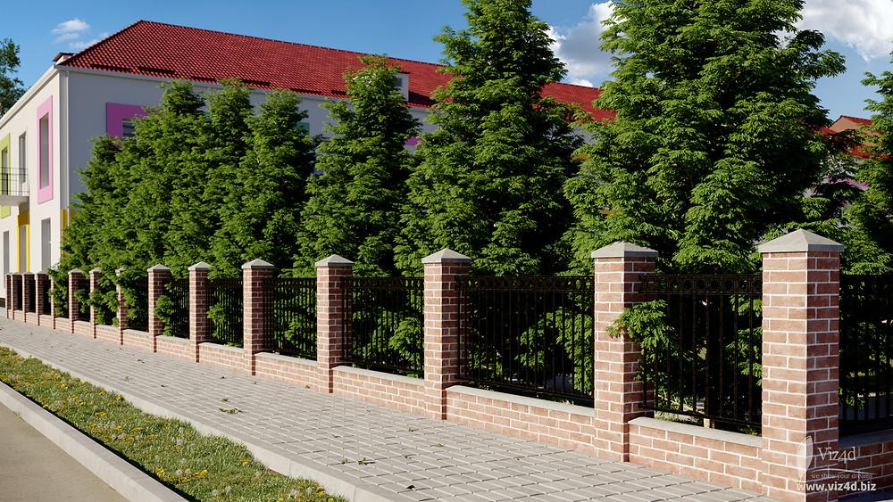Паркан коло головного корпусу ліцею - проектна пропозиція viz4dbiz