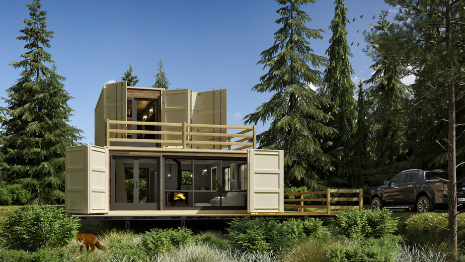 Exterior of the shipping container house in Canada