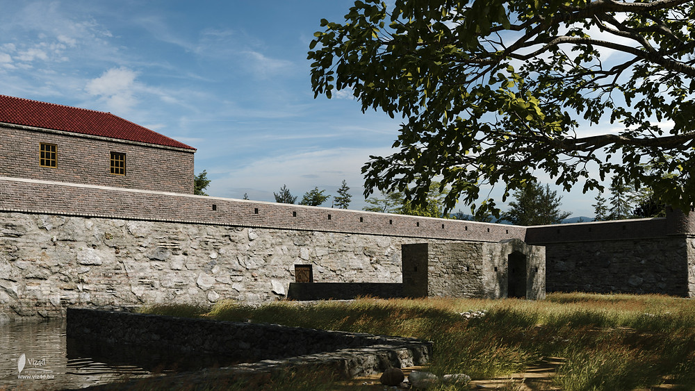 Entrance to the castle from Monastyrska street - pond is behind us - rendering by viz4d.biz