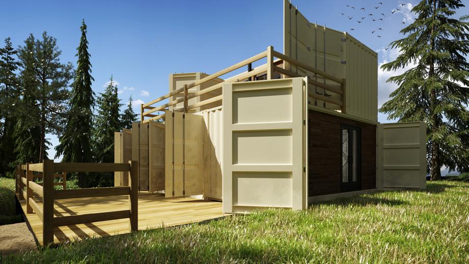 Зовнішній вигляд контейнерного будинку в Канаді