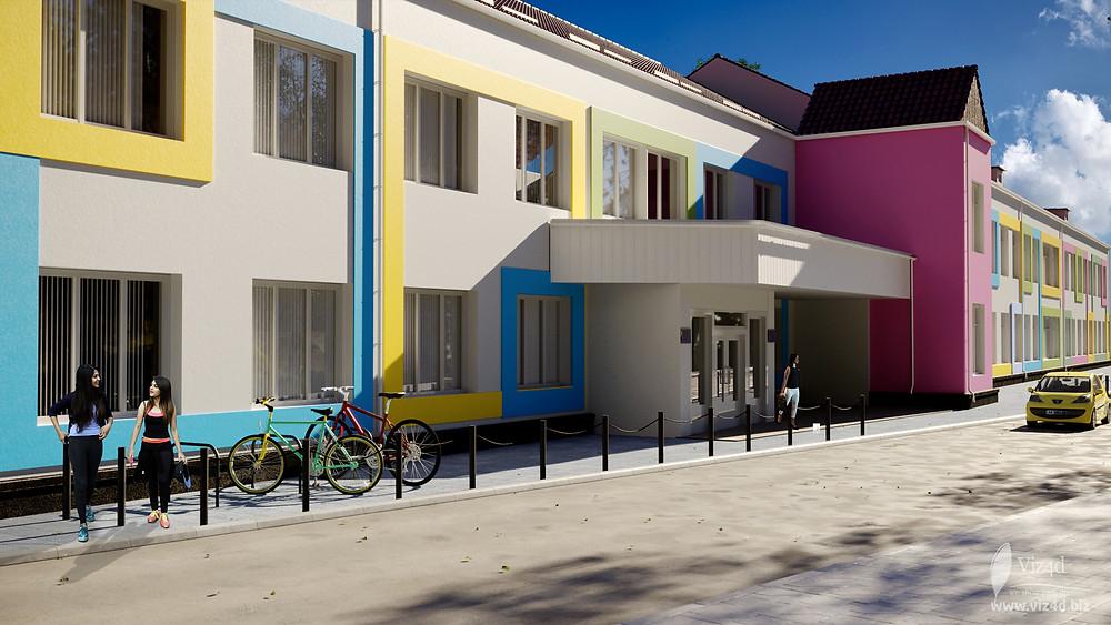 Проектний вигляд фасаду головного корпусу ліцею №2 у місті Бар