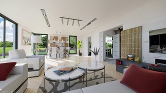 Big living-room with high ceilings, huge windows and lots of space