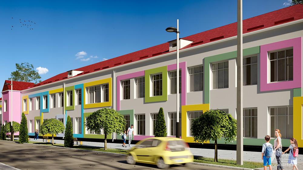 Проектний вигляд фасаду головного корпусу ліцею №2 у місті Бар пропозиція viz4dbiz
