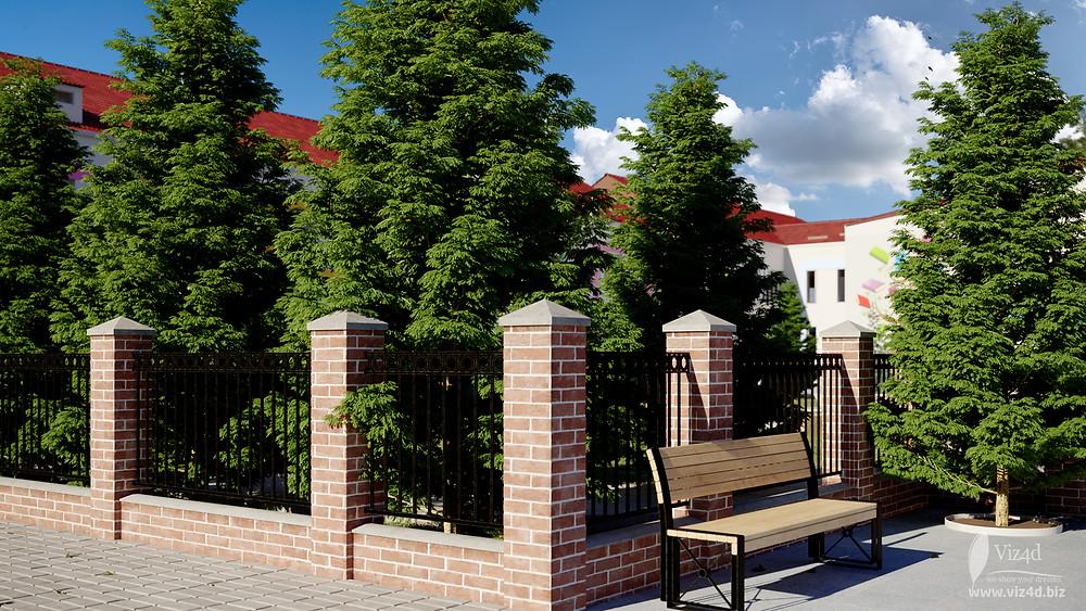 Проектний вигляд огорожі коло головного корпусу ліцею