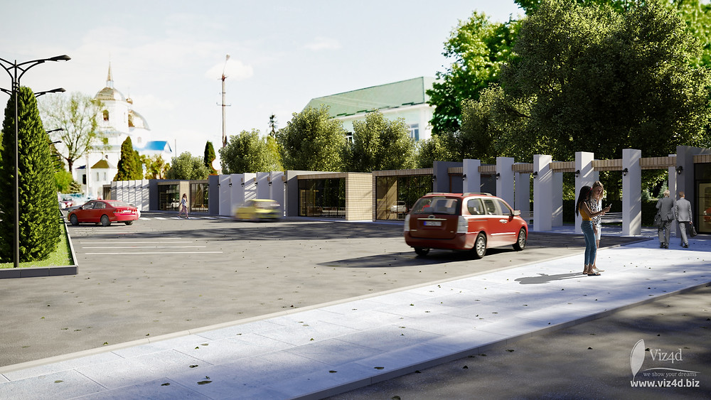 Parking lot and commercial zone with benches under pergolas - Viz4d proposal