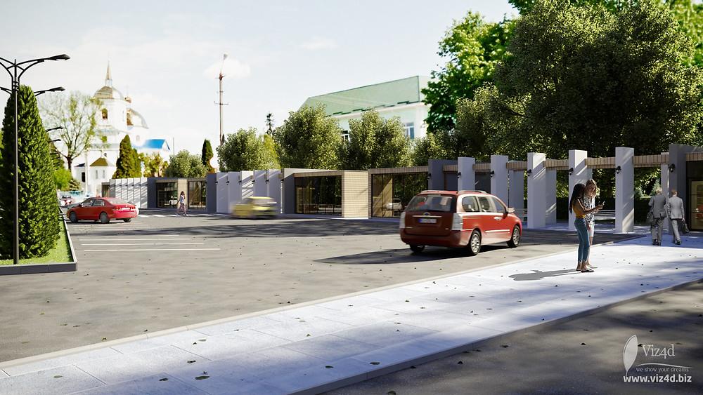 Паркінг та комерційна зона із лавками та проходами до площі Пам'яті
