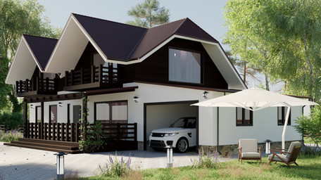 Exterior design and visualization of the big family house in Ukraine