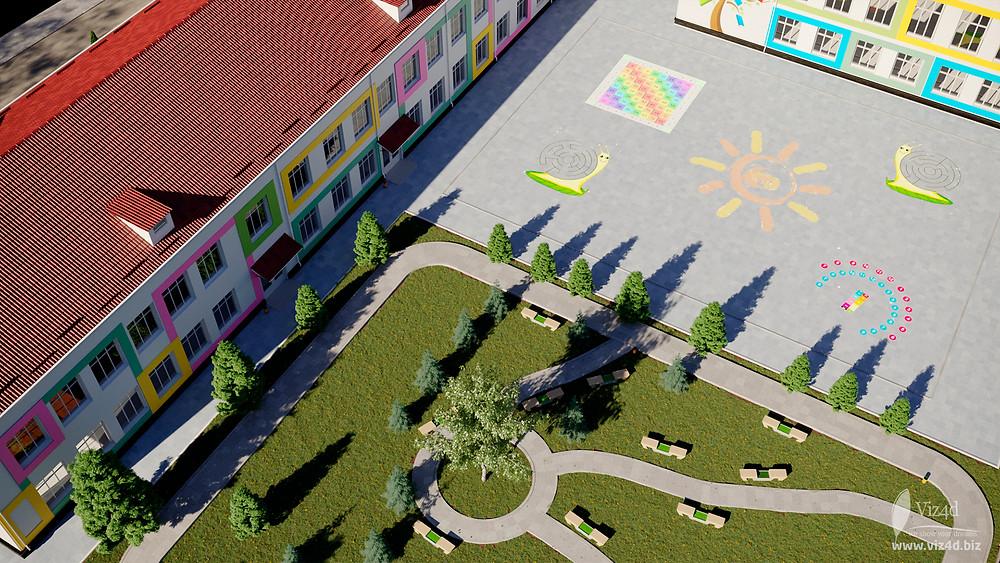 Загальний вигляд зеленої зони та шкільної площі - пропозиція viz4dbiz