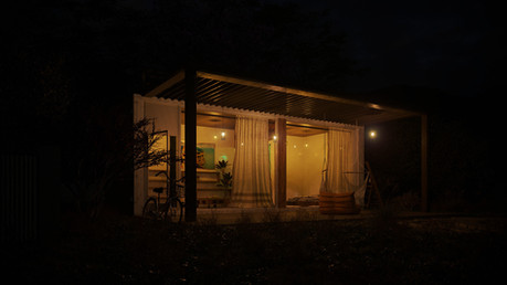 Small container house night view