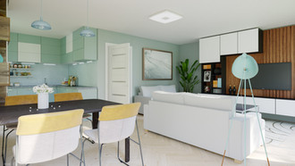 Nice compact living-room with kitchen zone