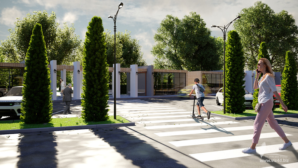 Pedestrian crossing from the bus station location ans the side view of the parking lot  - Viz4d proposal