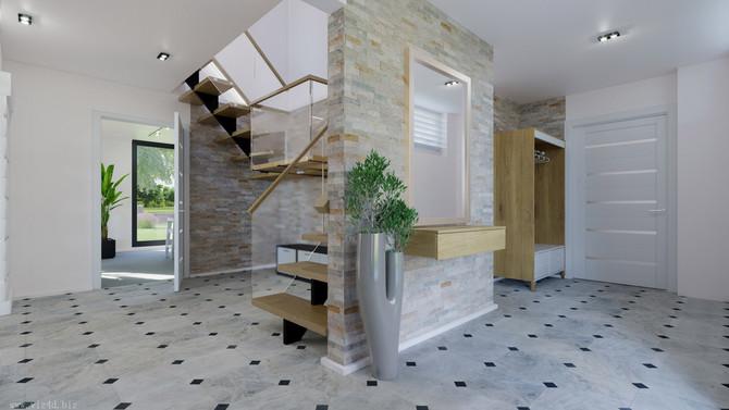 Big hall with loft staircase