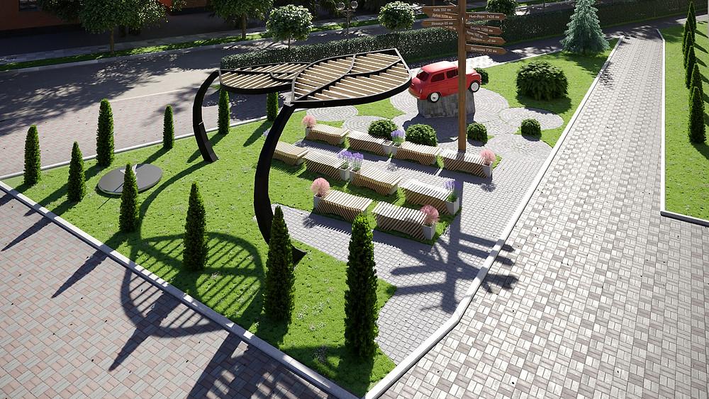 Проєкт переоблаштування території Барського коледжу транспорту та будівництва - варіант #2 - пропозиція viz4dbiz