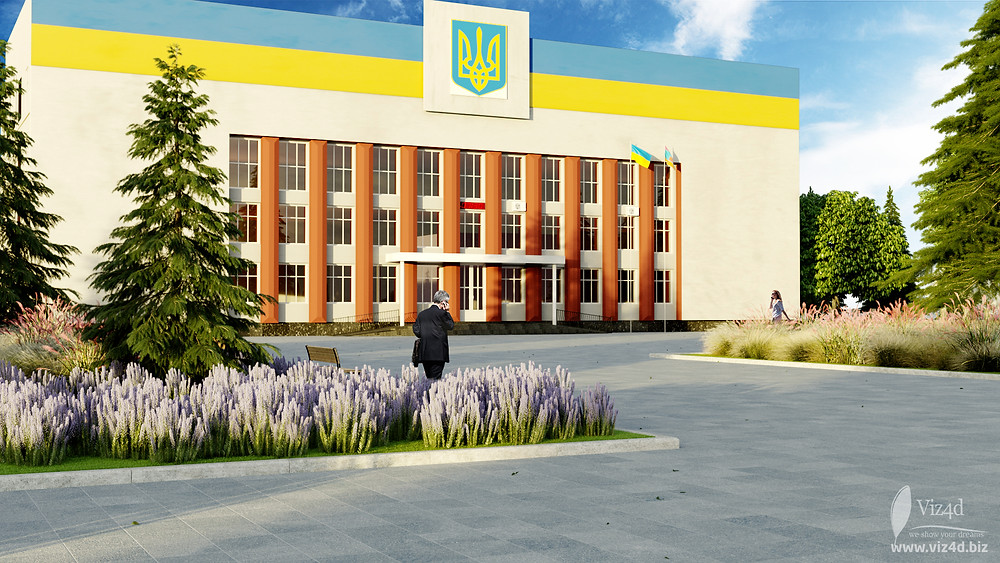 The square in front of District state administration - renovation concept by Viz4d