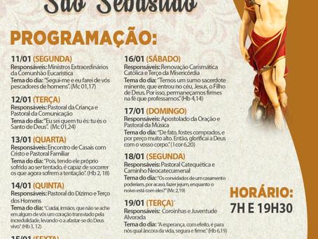 Programação  da Novena de São Sebastião 2021.