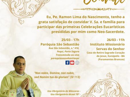 Convite: 1ª Missa do Pe. Ramon  Lima