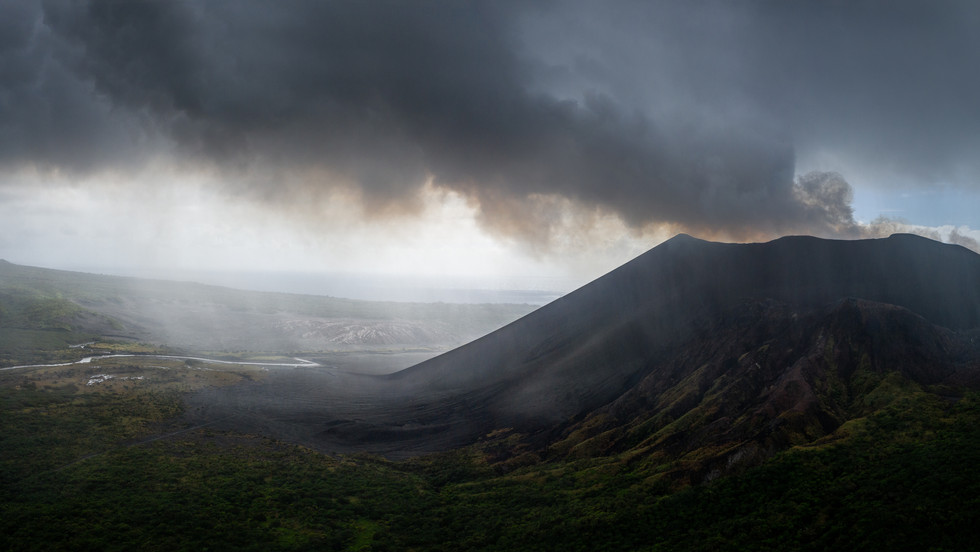 Volcanic gases steaming from the caldera of Mt. Yasur - Tanna, Vanuatu