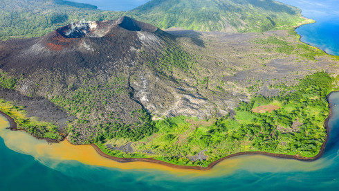 Hotspring runoff ringing the coast of Tavurvur Volcano - Rabaul, Papua New Guinea