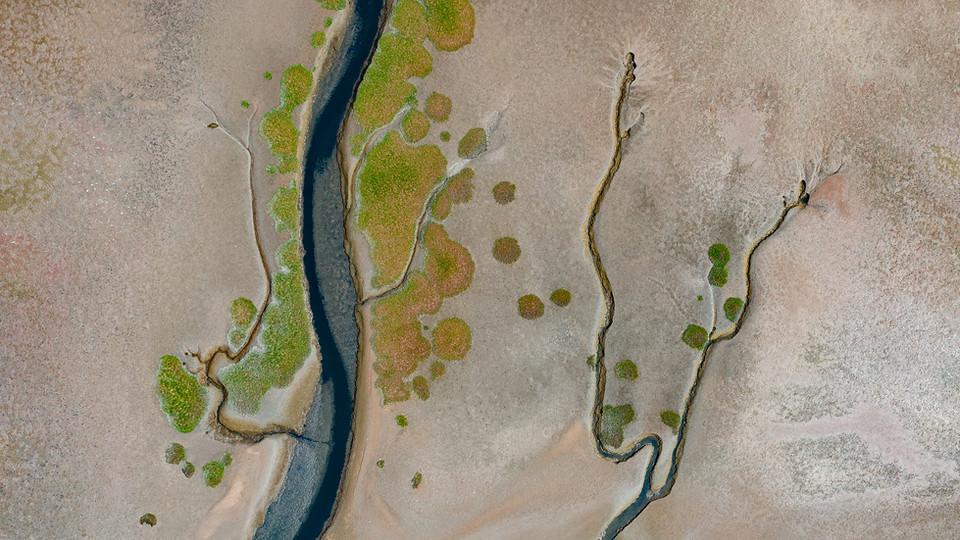 Stream arteries on a flood plain - Walvis Bay, Namibia